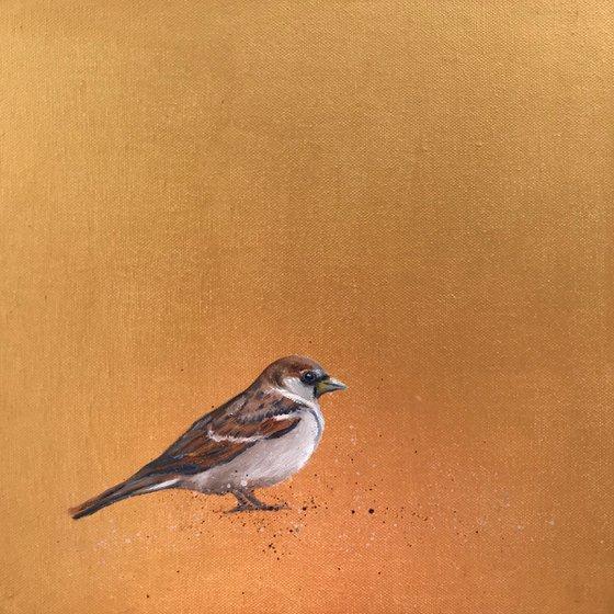 Garden Sparrow on Gold