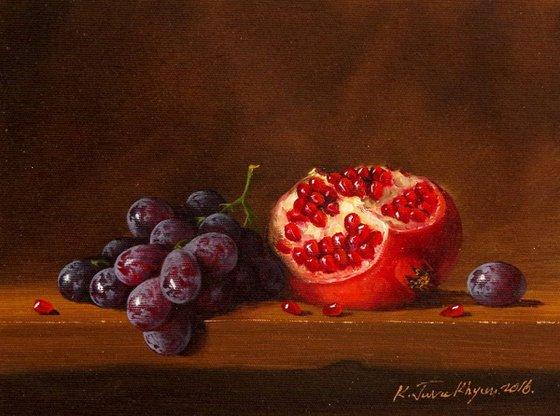 Still Life, Fruits, Pomegranate, Original oil Painting, Classic Art, Handmade painting, signed