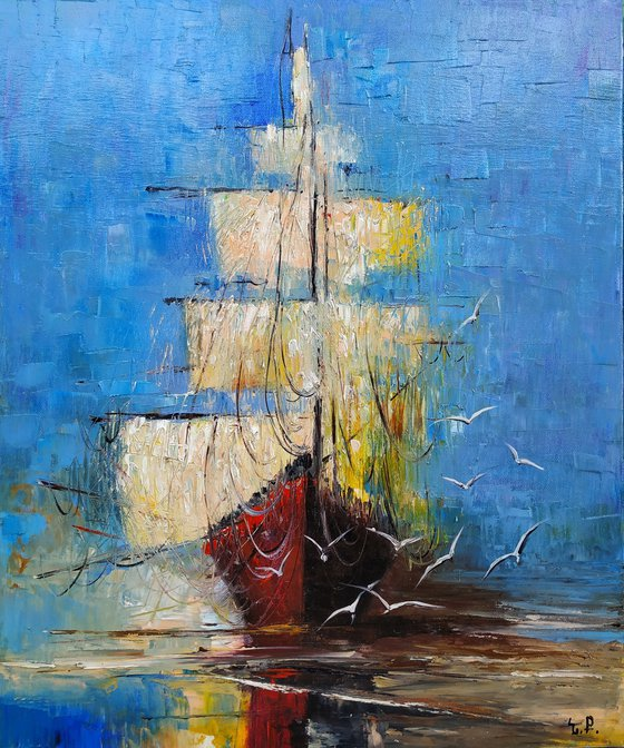 Boat (50x60cm, oil painting, ready to hang, impressionistic)