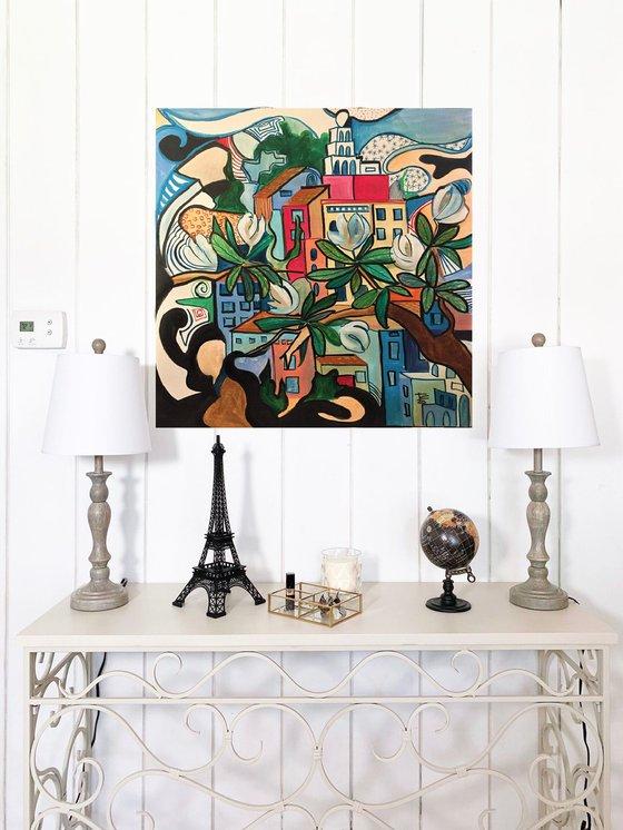Amalfi from magnolia tree - original acrylic on canvas - 60 x 60 cm / 24' x 24' inches