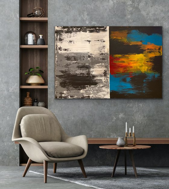 Positive & Negative - Rectangular - Ex-:Large - Abstract - Canvas