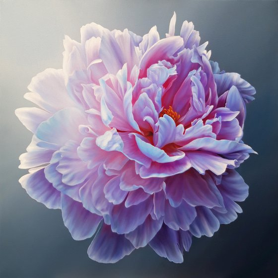 """""""Mesmerizing peony"""", oil floral realistic painting, large flower art"""