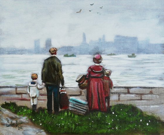 Immigrant family, New York painting