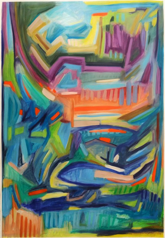 Abstract Landscape 43.3 H x29.1 W inches | Large &Colourful abstract |