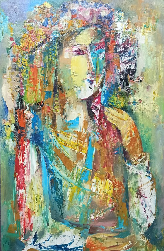 Colorful portrait (30x50cm, oil painting, ready to hang)