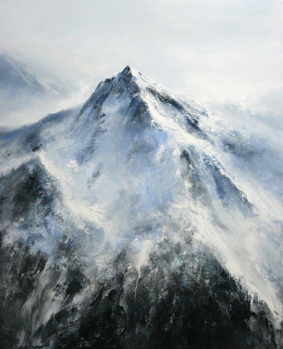 "81x100 cm - 32""x39"", Alpine Mountain, Large original painting, Ready to hang"