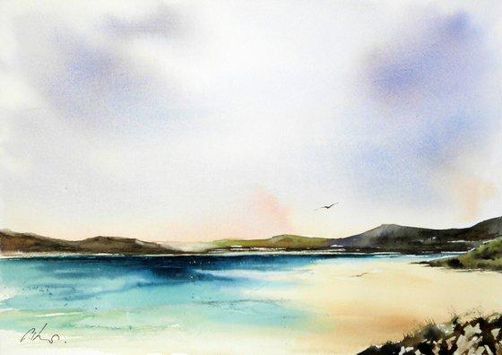 Luskentyre Beach. Original Watercolour Painting.