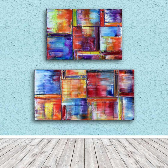 """""""So Happy Together"""" - Original Extra Large PMS Abstract Diptych Oil Paintings On Canvas - 48"""" x 48"""""""