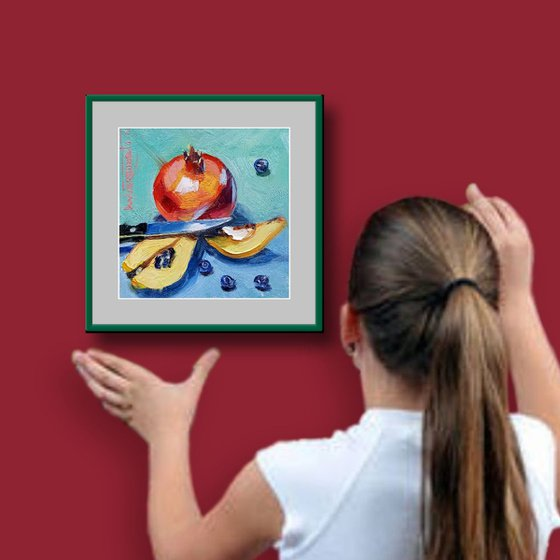 Pomegranate and Quince Original Still Life Painting in Oils, Miniature Impressionist Art, Red and Yellow Fruits Still Life Miniature, Daily Painting Art