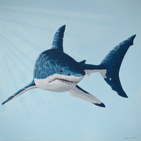 The Great White Shark - pointillism painting