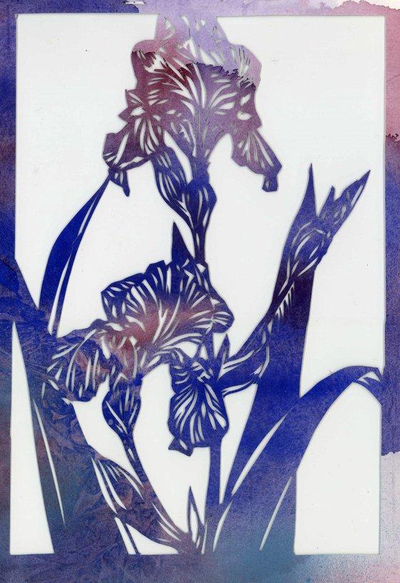 blue iris watercolor papercut