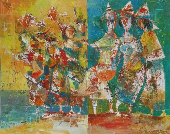Dance(55x45cm, mixed-media painting, paper)