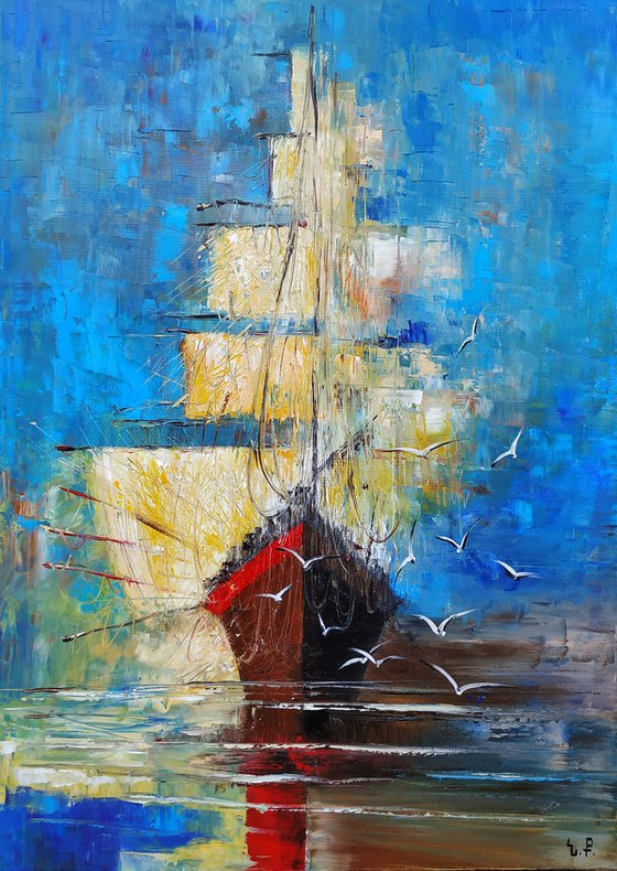 Boat-2 (50x70cm, oil painting, ready to hang, impressionistic)