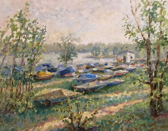 Spring. Colored boats.