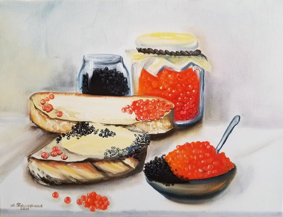 Still Life with Red and Black Caviar. Original Oil Painting. Interior painting with traditional Russian treat.