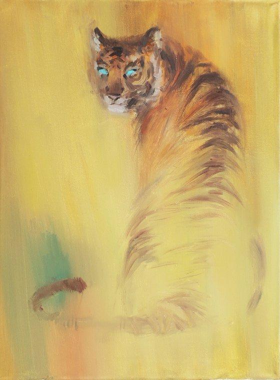 Oil painting Tiger Tiger gaze Yellow Animal Wild cat