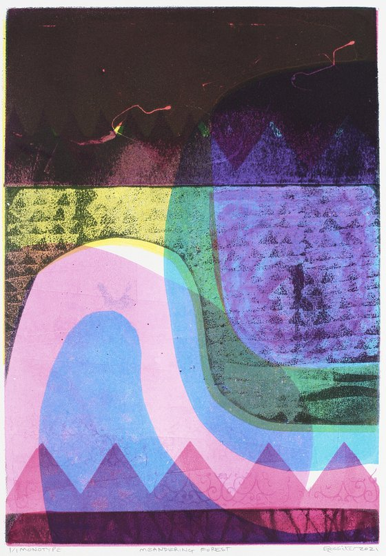 Meandering Forest - Unmounted Signed Monotype