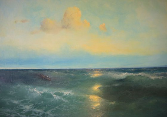 Starting Sunset, Seascape Original oil Painting, Handmade artwork, Museum Quality, Signed, One of a Kind