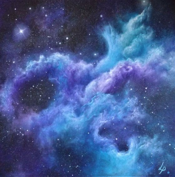 'Far Above THe World' - Space Art, Finger-painted