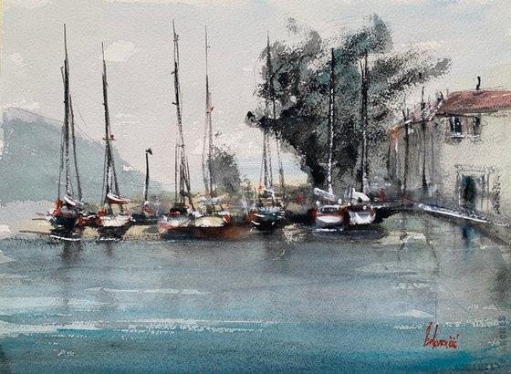 Seascape view - sailing boats harbour