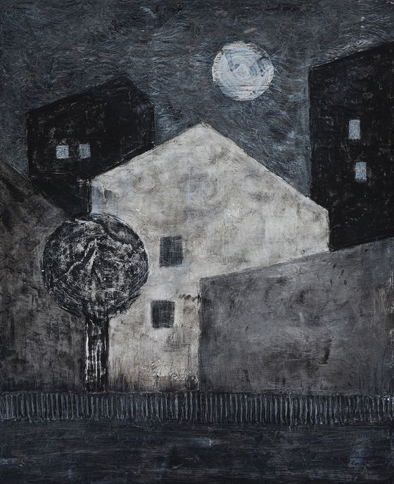Moonlight over the City - monochrome mixed media painting