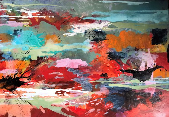 Abstract red landscape II