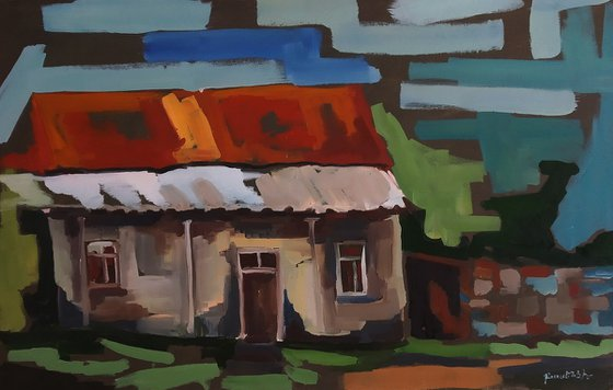 In the village(70x45cm, oil painting, ready to hang)