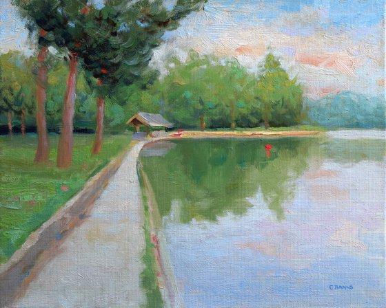 Paris France impressionism boating lake in park Bois de Boulogne