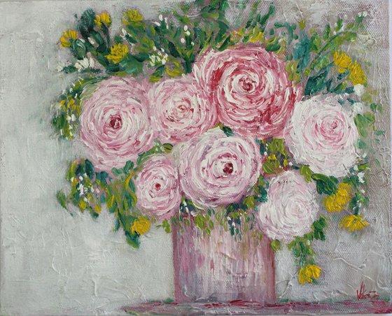 Pink Roses - Still Life Original Oil painting on canvas board - Wallart-Home Decor