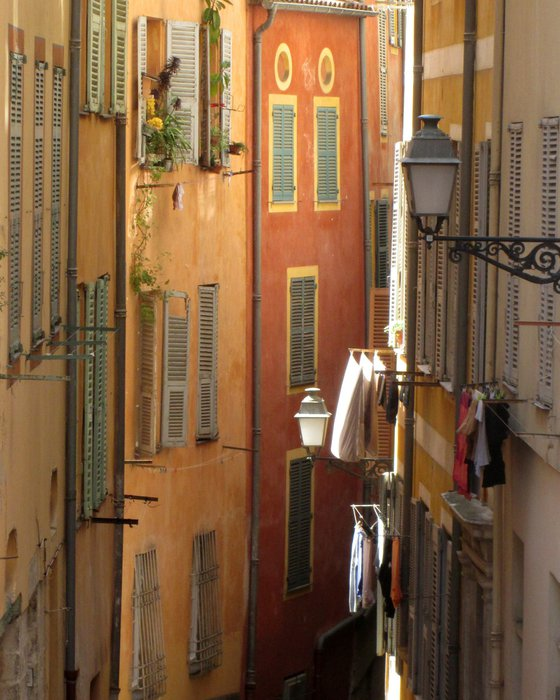 Washing Day, street scene in the old town of Nice, Cote d'Azur France