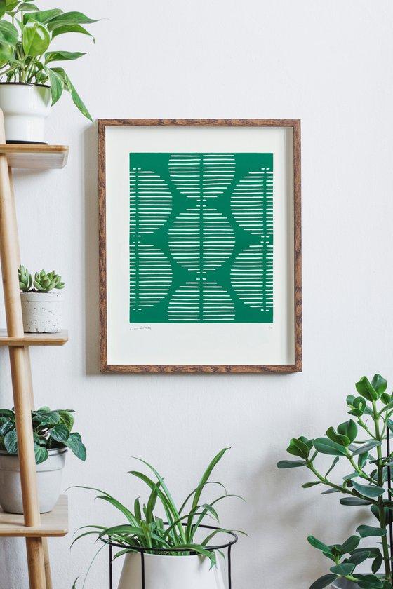 Hikari (Emerald Geometric Linocut Print)