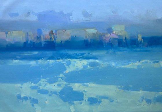 Sea Waves, Original oil painting, Handmade artwork, One of a kind