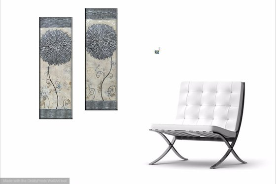 Silver Asters (20x60, 20x60 size, texture, Modern art )