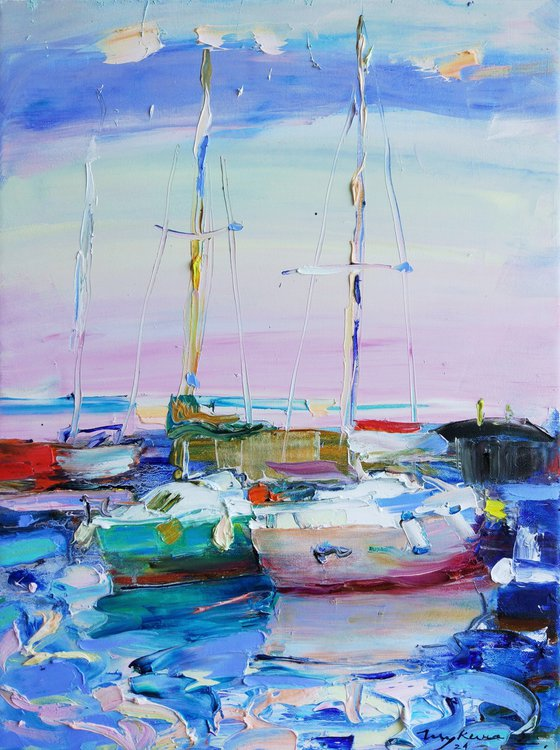 Yachts. Сolors of the sea. Original oil painting