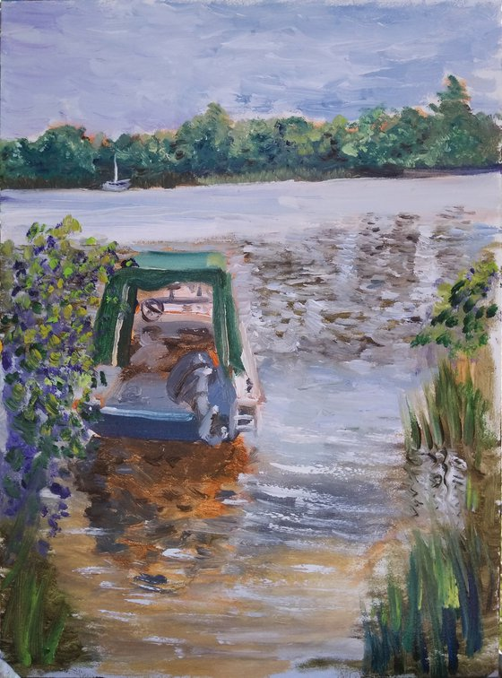Motorboat on the river. Plein air painting