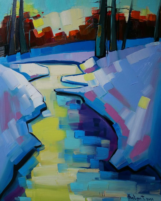 Winter morning-3 (40x50cm oil painting, ready to hang)