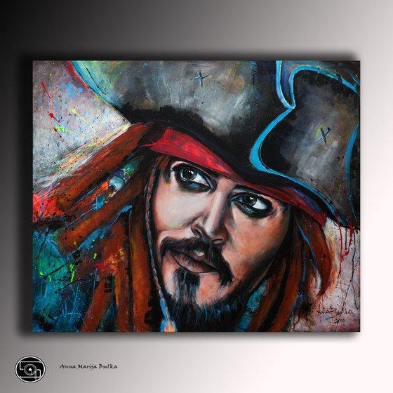 Jack Sparrow - Acrylic Portrait Painting Large