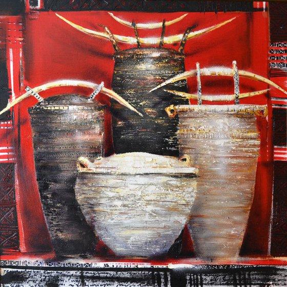 Pots in red window