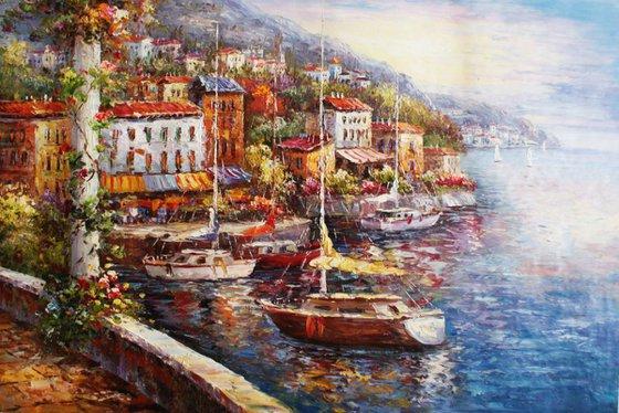 """""""Yachts"""" canvas / oil. Size 60x90 cm."""