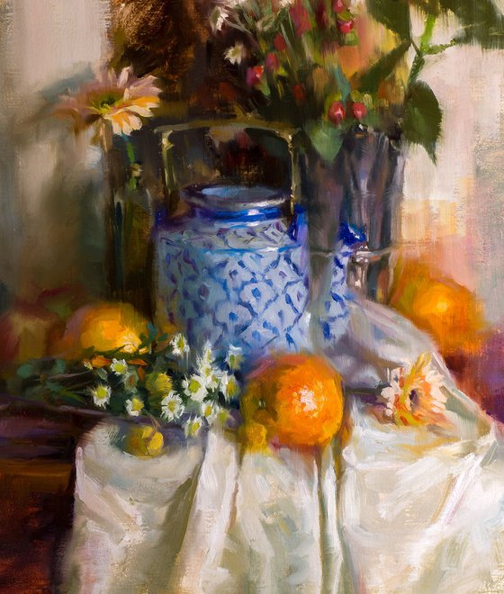'Teapot and Oranges' - original oil painting, alla prima oil painting, one of a kind