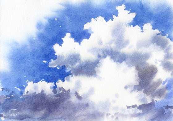 Wight clouds, blue sky.