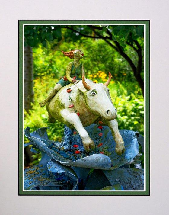 Lady on Bull sculpture