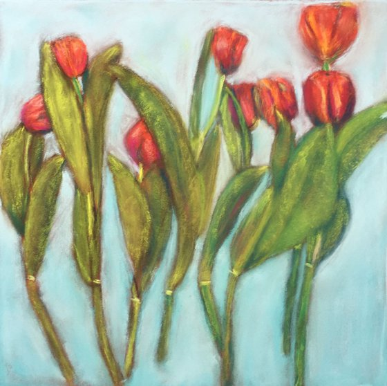 Original soft pastel drawing - Dancing tulips