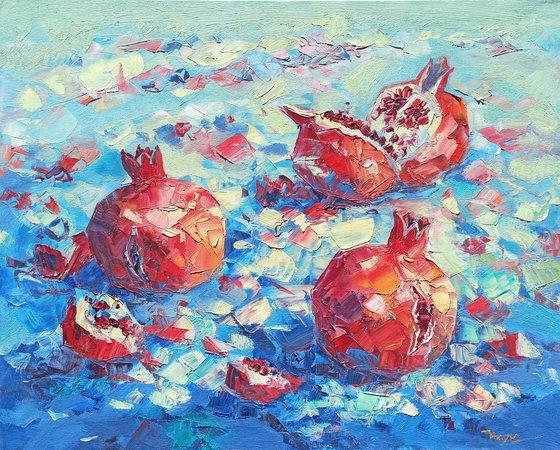 Still life pomegranates (60x70cm, oil painting,  ready to hang)