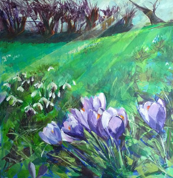 Crocuses and Snowdrops - original acrylic painting on canvas