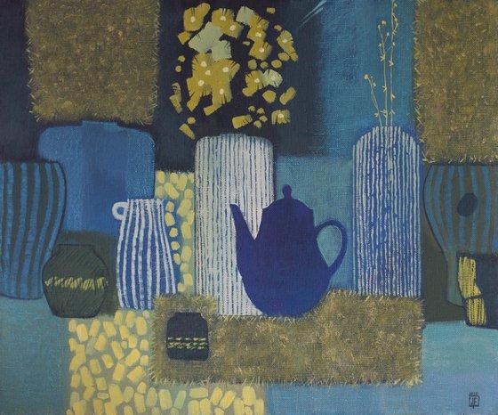 Gold flowers - still life blue, gold art, flowers art, home interior, ofice art, cubism, decor