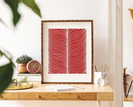 Plume (Marsala Geometric Linocut Print)