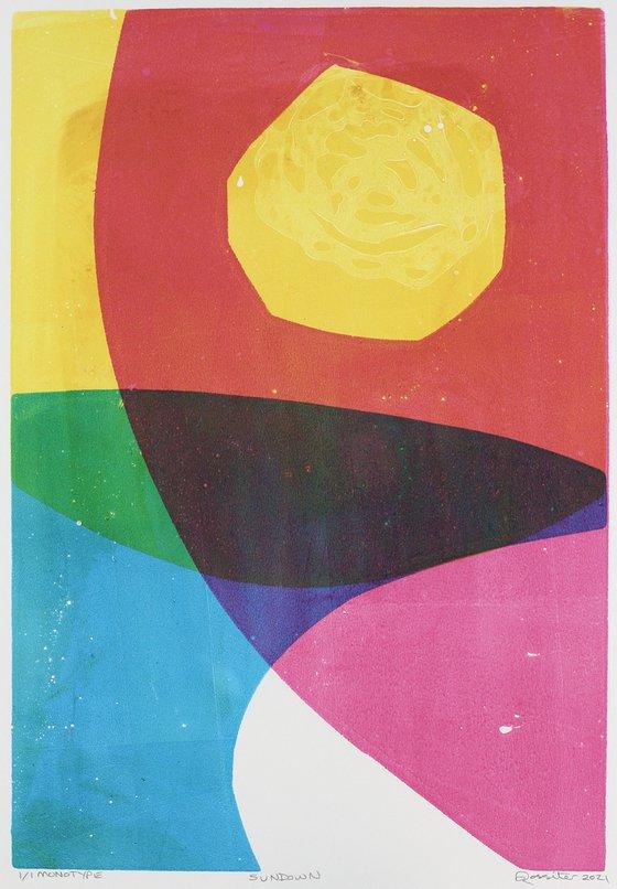 Sundown - Unmounted Signed Monotype