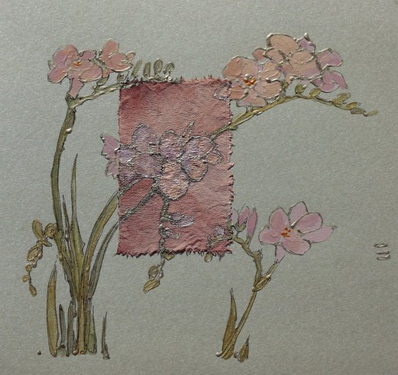 Pale pink freesia flowers
