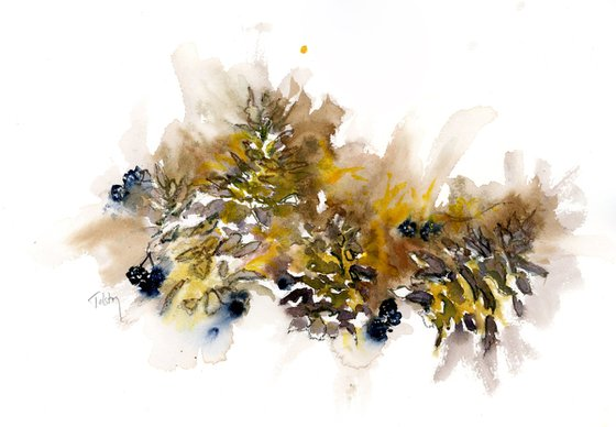 Four Pinecones and Berries